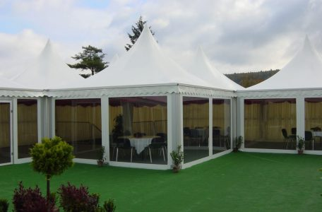 Multiple Pagoda Marquees with Scalloped Edge Roofs for Hospitality use