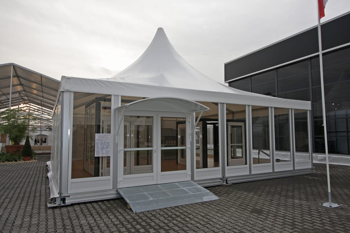 A Pagoda marquee with sturdy access ramp and overhead canopy