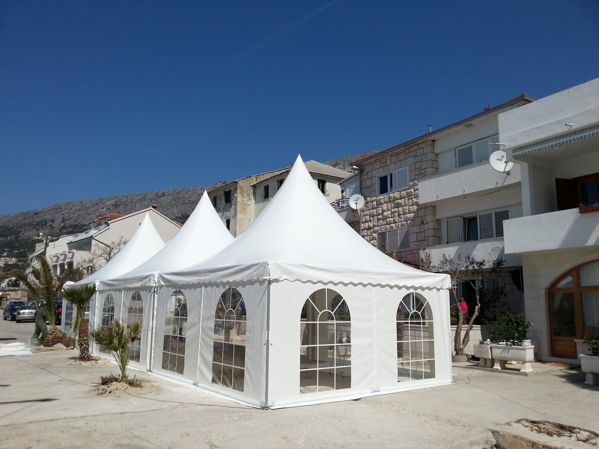 Multiple London Pagoda Marquees in residential street for a local event