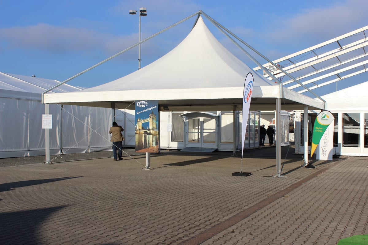 A Rimini Pagoda canopy for an entrance walkway at an exhibition event