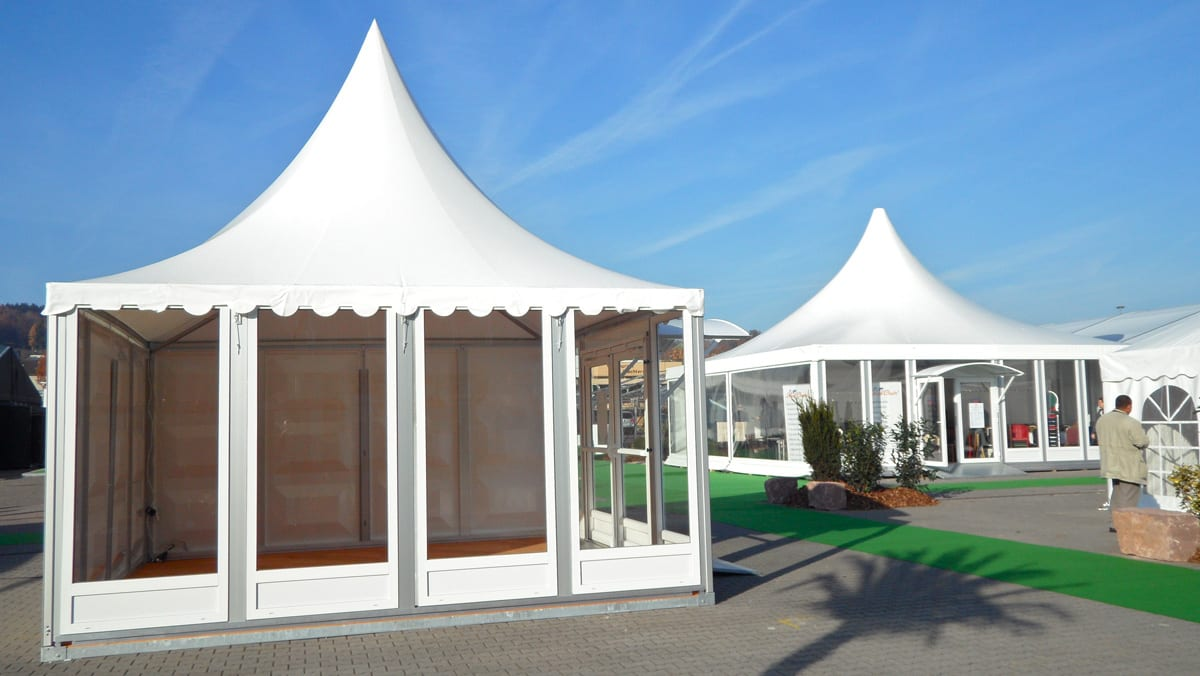 Our Pagoda marquees with Scalloped Edge Roof Valance for use at events