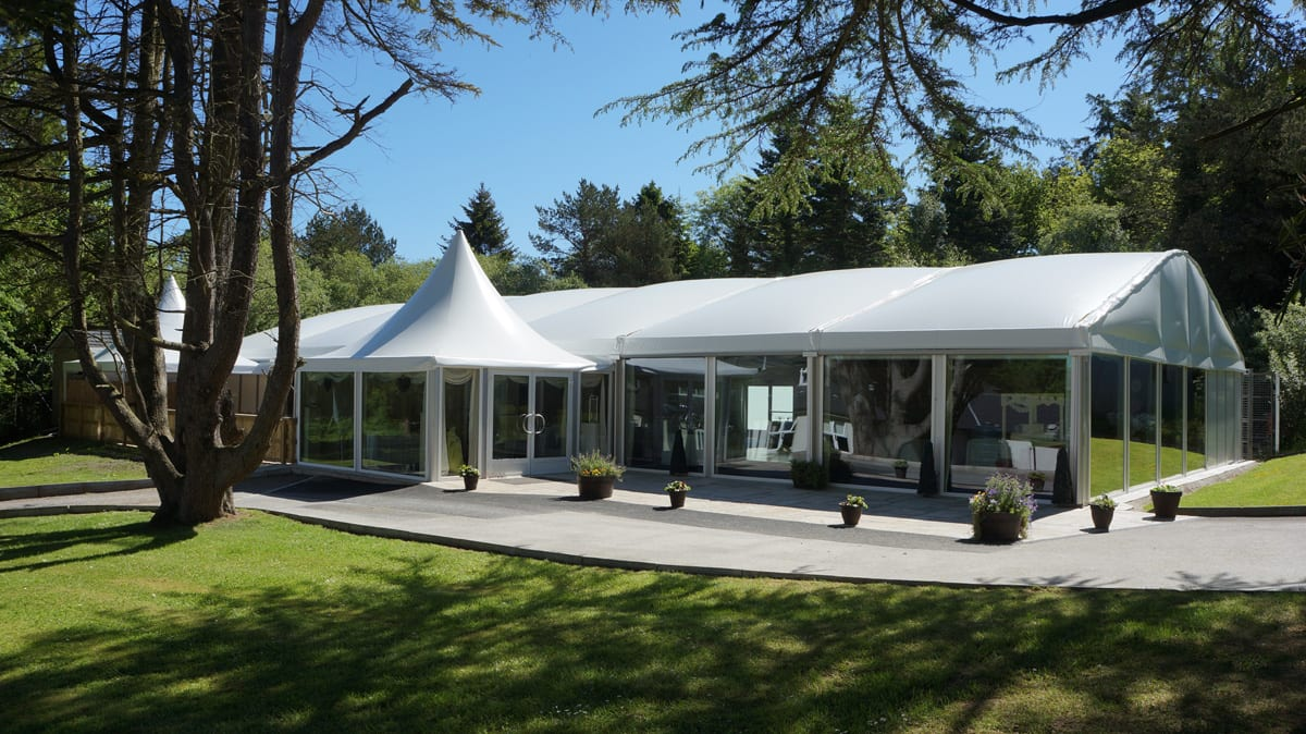 A HTS tentiQ GZ A-frame large event text with High peak roof components