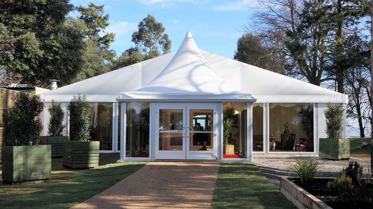 A HTS tentiQ GZ Cathedral large event tent being used for a wedding event