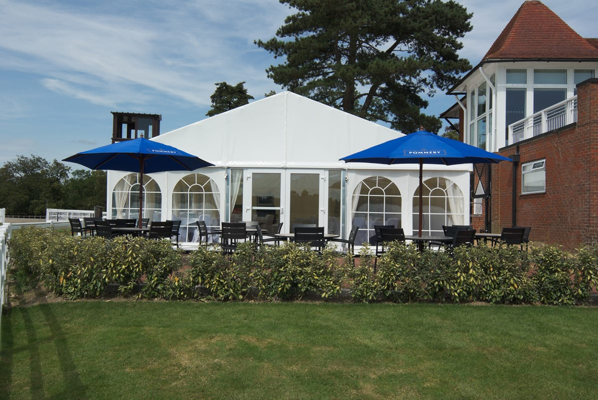 A HÖCKER P Series a-frame marquee with an outside seating