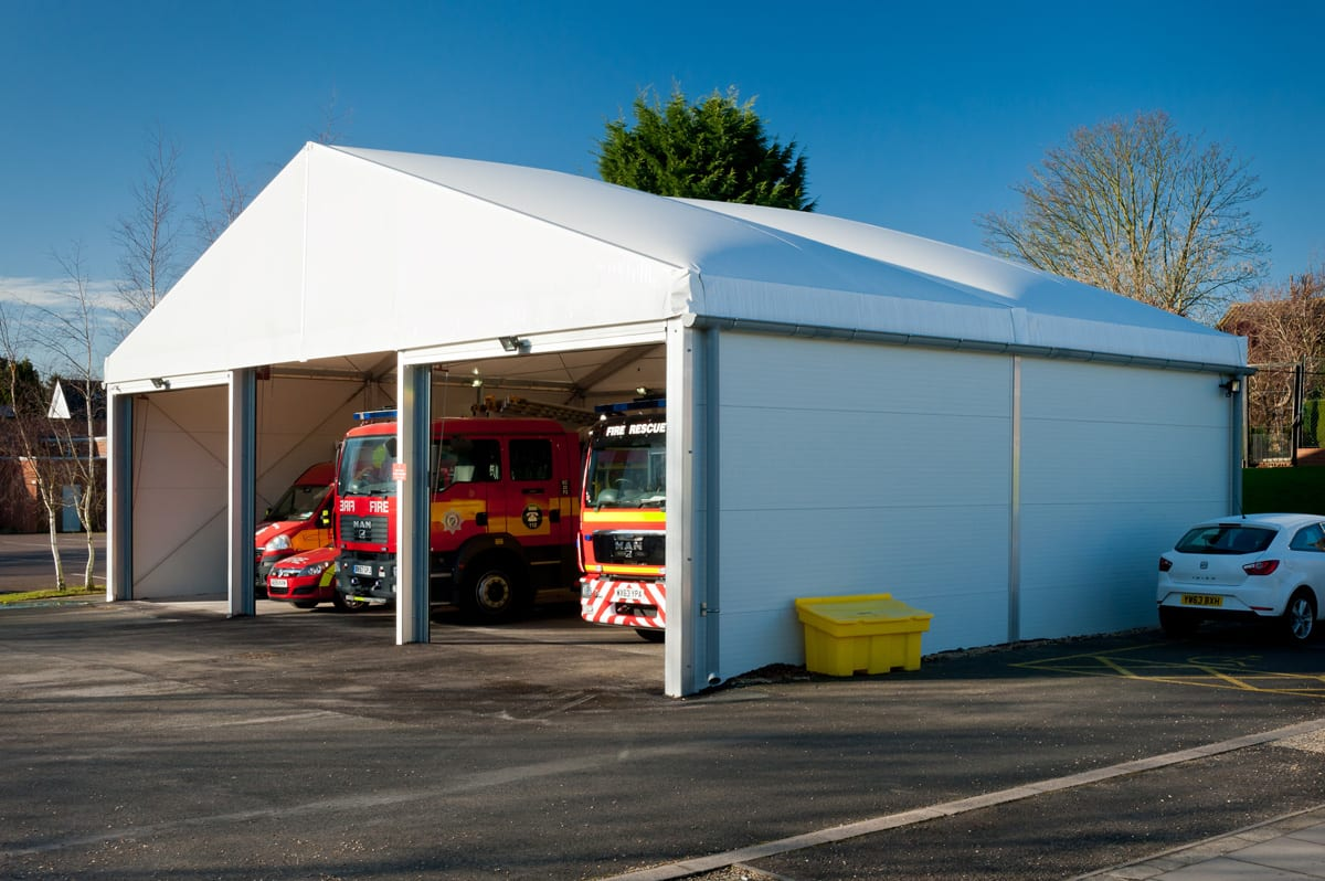 An Industrial building for fire engine shelter at a station