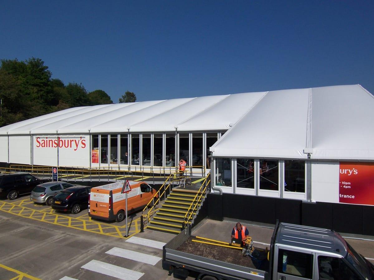 A Semi permanent retail commercial building for a Sainbury