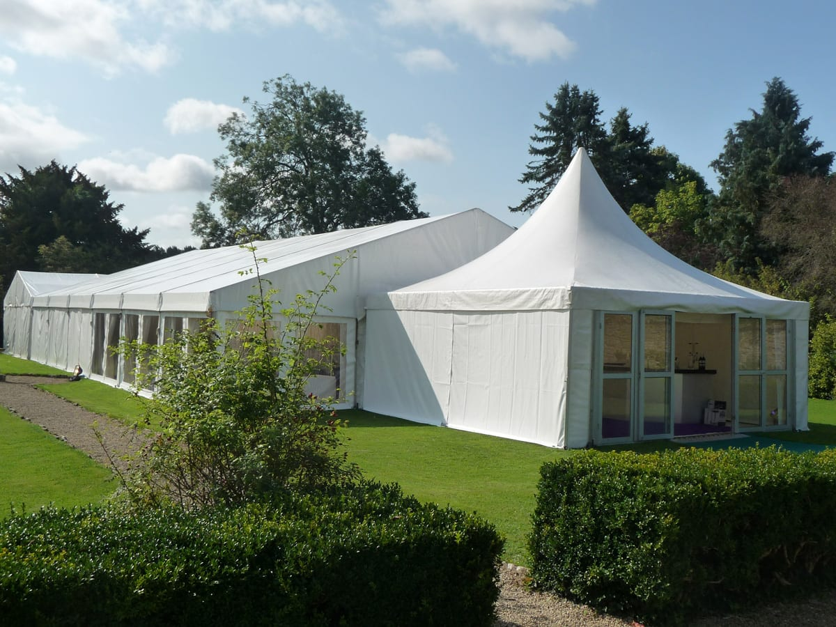 A Complete tent structure with a pagoda entrance component