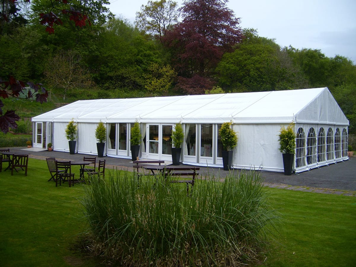 A RÖDER HTS (PZ) A-frame small party tent being for a wedding function