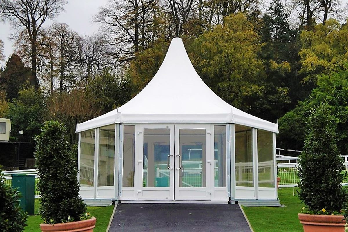 A RÖDER HTS (PZ) shaped tent being used for a racecourse reception area