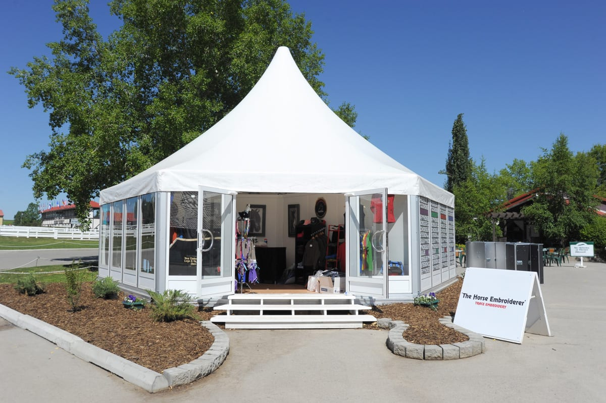 A RÖDER HTS (PZ) shaped small party tent used for an embroidery retailer