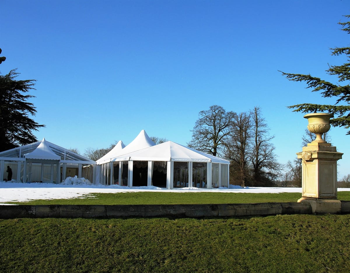 A Multiple shaped temporary structure components for event