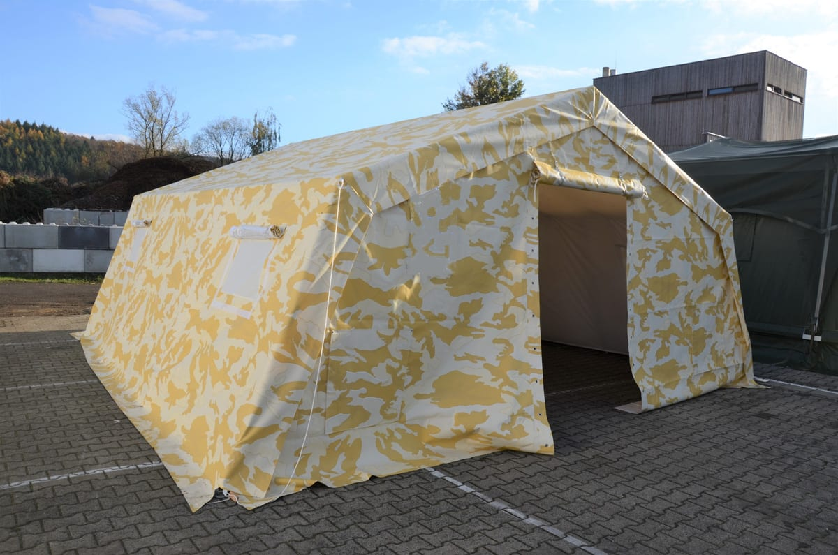 A camouflage Inflatable rapid deployment shelter for military use