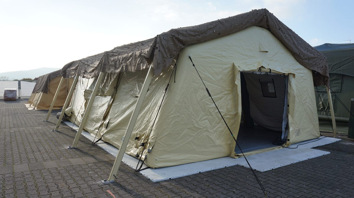 A Rapid Deployment Shelter providing humanitarian shelter for military troops