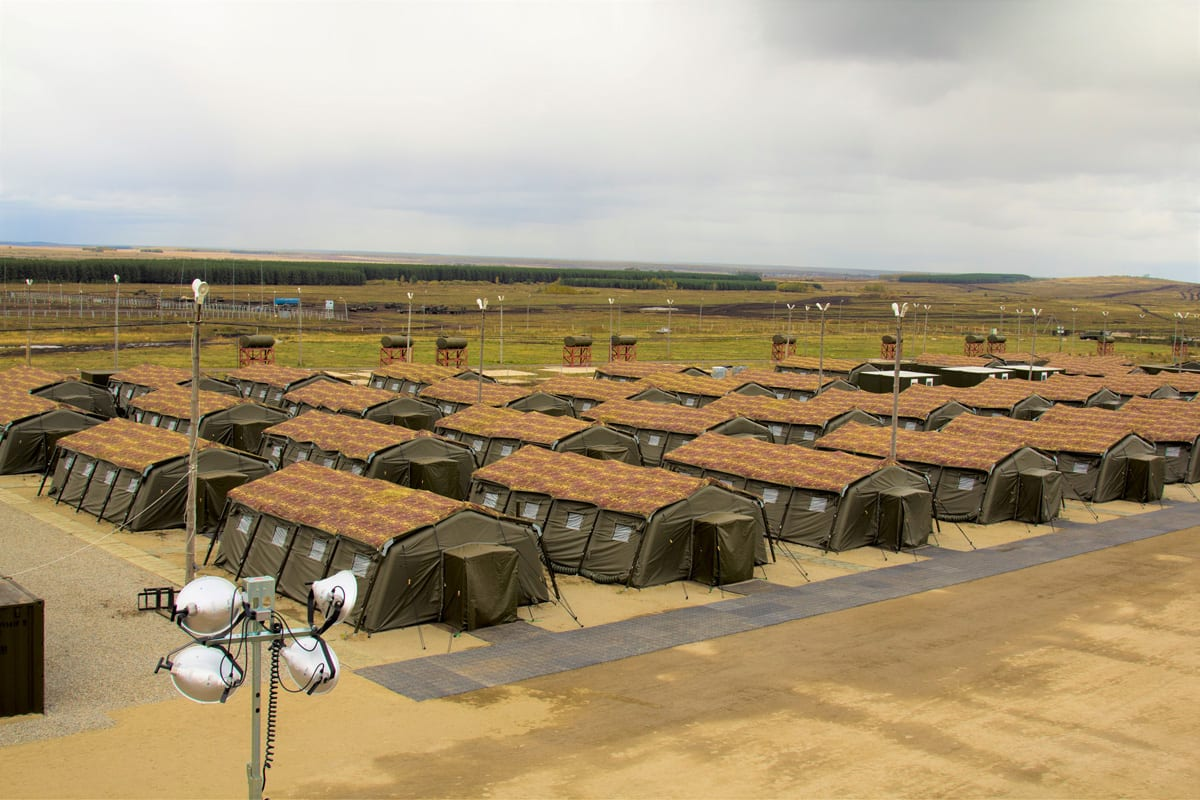 Multiple Rapid deployment shelters for Military Field Camp accommodation