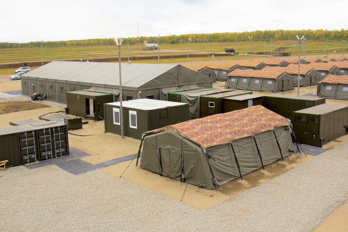 A Multiple Rapid deployments shelters used at Military Field Camps