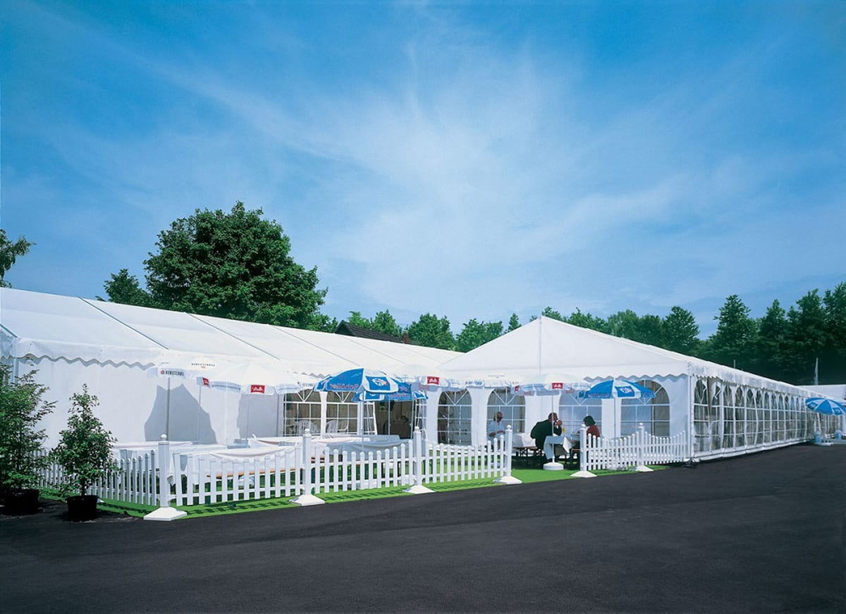 A Large temporary event structure for catering with an outside seating area