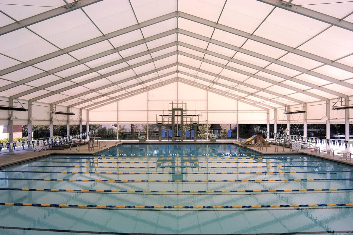 A Sports canopy for a diving and swimming pool