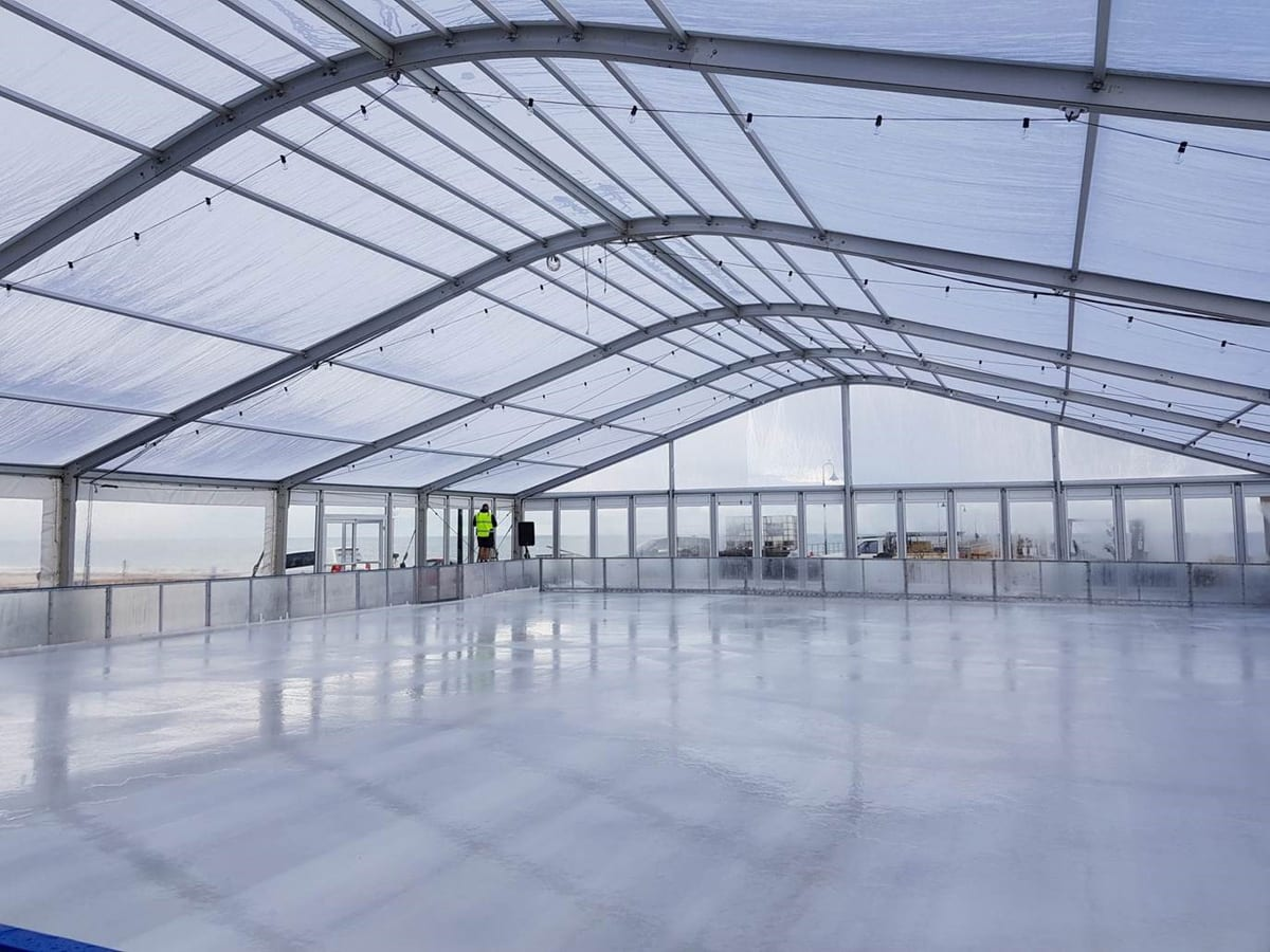 A Large sports structure for an indoor ice rink