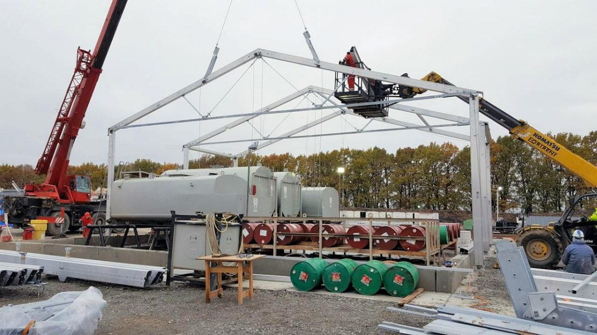 Temporary structures built around drilling machinery to protect from extreme cold